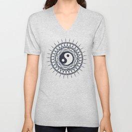 Yin Yang Mandala / White Mandala over stars Unisex V-Neck