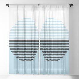 Horizons Geometric Design 4 - Turquoise Blue Sea Sheer Curtain