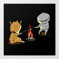 dark souls Canvas Prints featuring Bonfire Buddies - Dark Souls by Pengew