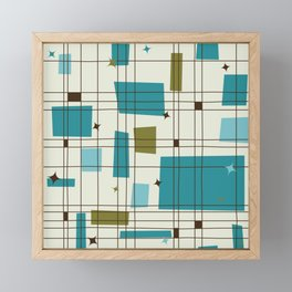 Mid-Century Modern (teal) Framed Mini Art Print