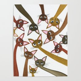 Hachita Whimsical Cats Poster