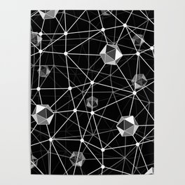 Black and White Geometric Shape Constellation Dream Poster