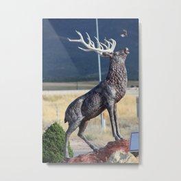 Bird Flying From Stag Deer Statue Metal Print