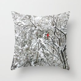 Bright Cardinal in the Snowy Woods Throw Pillow