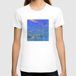 Sky Blue Marble With 24-Karat Gold Nugget Veins T-shirt
