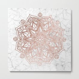 Rose Gold Mandala on Marble Metal Print