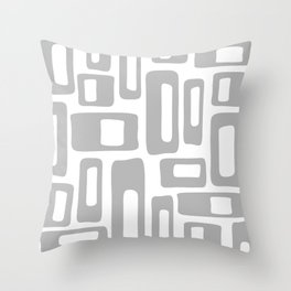 Retro Mid Century Modern Abstract Pattern 336 Gray Throw Pillow