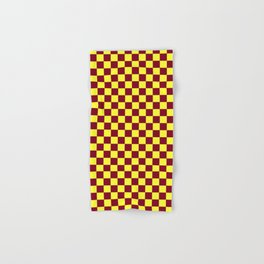 Electric Yellow and Burgundy Red Checkerboard Hand & Bath Towel
