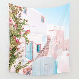Santorini Greece Mamma Mia Pink House Travel Photography in hd. Wall Tapestry