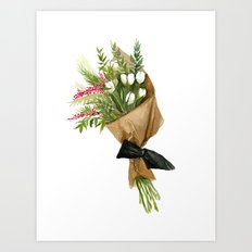 Flowers in Brown Paper - Watercolor Art Print