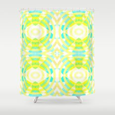 Funky geometry in yellow and blue Shower Curtain