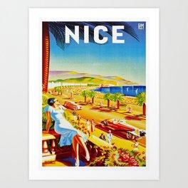 Vintage Nice Italy Travel Art Print