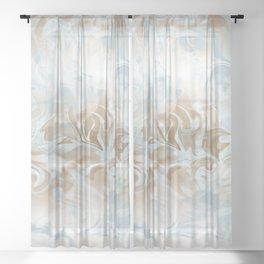 Watercolour in Blue Gold Sheer Curtain