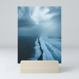 Moody Black Sand Beach in Iceland - Landscape Photography Mini Art Print
