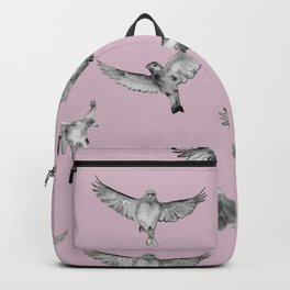 Birds in Flight in Pink and Grey Backpack