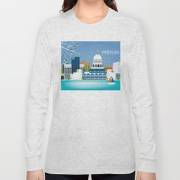 Madison, Wisconsin - Skyline Illustration by Loose Petals Long Sleeve T-shirt