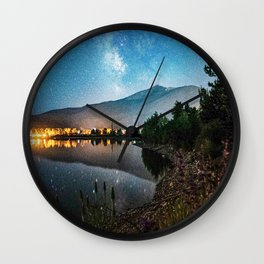 Grainy Nighttime Tones // Lake View Fuzzy Lens Photograph Beautiful Landscape with Mountains Wall Clock