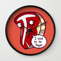vegan Wall Clocks featuring Vegan Steak by Artistic Dyslexia