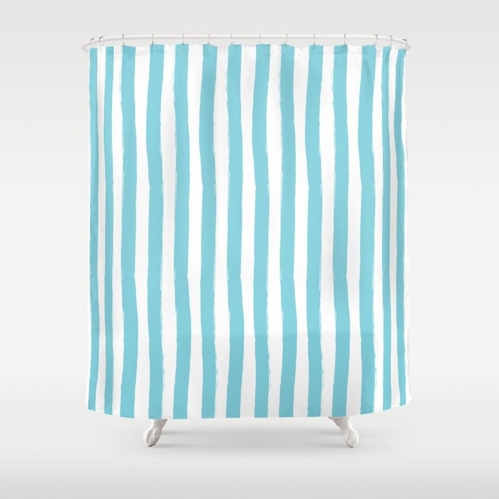 Turquoise And White Cabana Stripes Palm Beach Preppy Shower Curtain