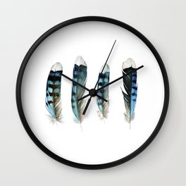 Blue Jay Feather Group Wall Clock
