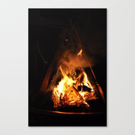 Warming up by the Fire Canvas Print