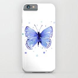Dark Blue Butterfly Watercolor iPhone Case