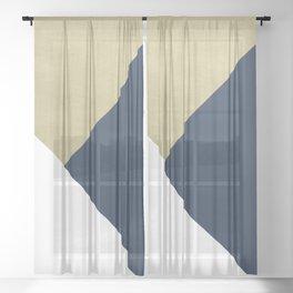 Gold meets Navy Blue & White Geometric #1 #minimal #decor #art #society6 Sheer Curtain