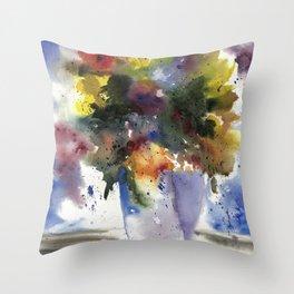 Spring Flowers in Blue Vase, original watercolor painting Throw Pillow