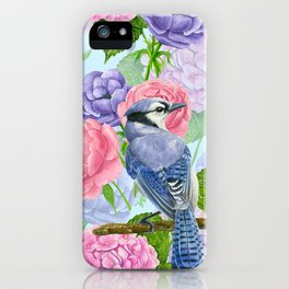 Blue jay and flowers watercolor pattern iPhone Case