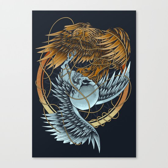 The Raven and the Owl Canvas Print