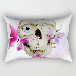 Skull and Butterfly Watercolor design Rectangular Pillow