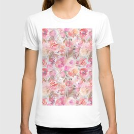 Blush pink lilac hand painted watercolor roses floral T-shirt