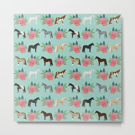Horse Florals - mint and pink, horse, horse bedding, horse florals, horse blanket, horse decor, cute Metal Print
