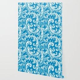 Blue Retro Chic Swirl Wallpaper