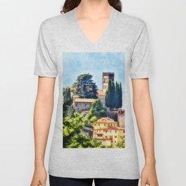 Duomo of Barga (color) Unisex V-Neck