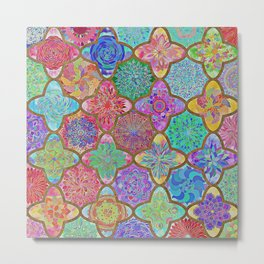 Olé México-mexican colorful mandala pattern Metal Print