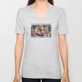 Times Square II (widescreen poster on white) Unisex V-Neck