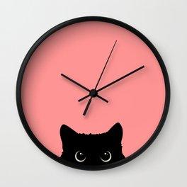 Sneaky black cat Wall Clock