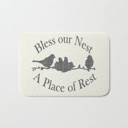 Bless our Nest A Place of Rest Birds on a Branch Shabby Chic Bath Mat