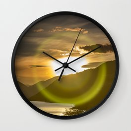 Golden Sunset on Queenstown and Lake Wakatipu Wall Clock