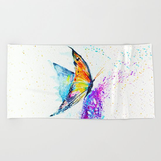 butterfly on a flower Beach Towel