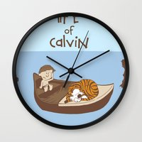 hobbes Wall Clocks featuring Life of Calvin by Rookie Art&Illustration