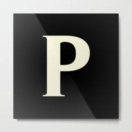 P MONOGRAM (BEIGE & BLACK) Metal Print