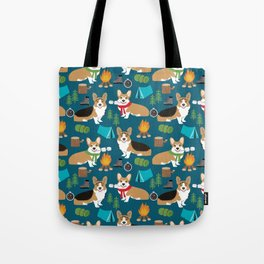 Corgi camping marshmallow roasting corgis outdoors nature dog lovers Tote Bag