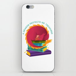 A Dragon Protects His Treasures (books) iPhone Skin