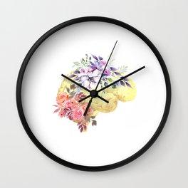 Floral Human Brain Anatomy  Wall Clock