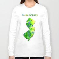 new jersey Long Sleeve T-shirts featuring New Jersey Map by Roger Wedegis