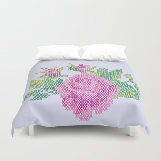 English Rose (Oversized Cross Stitch) Duvet Cover