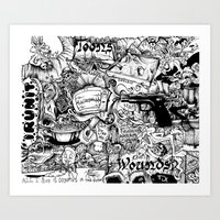 cartoons Art Prints featuring Cartoons and Cereal by abstractrebel