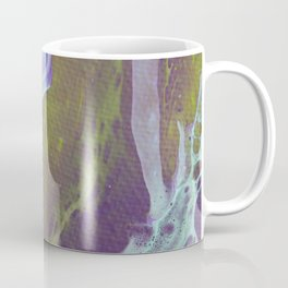 Fluid Art Acrylic Painting, Pour 32, Green, Purple, & Turquoise Blended Color Coffee Mug
